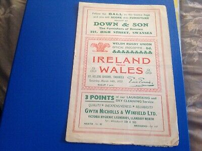 Rugby union programme  wales v Ireland 1953