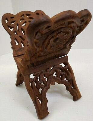 Cook Book Bible Holder Stand Sheshamwood Sarna India Carved Wood Ornate Floral