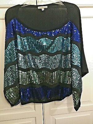Worn once, Moa Moa green and blue sequined black top with dolman sleeves, size S