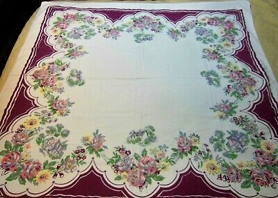HTF Vintage Tablecloth by QUEEN ANNE Burgundy Border Flowers Houses Homes