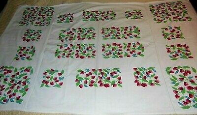 Vintage Tablecloth Big Bright Red Strawberry Juicy looking Fruit