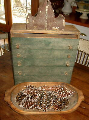 Wonderful Antique Primitive 4 Drawer Apothecary Chest Awesome Old Paint Aafa Nr