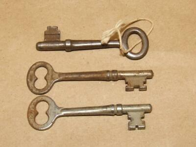 Antique Lot Of 3 Steampunk Cabinet Skeleton Keys About 2 3/4 inches Long