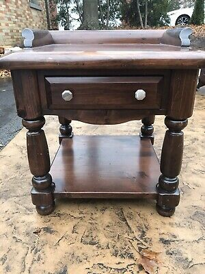 Ethan Allen Dark Antiqued Pine Old Tavern Nightstand/End Table - Vintage 1979