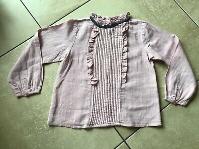Girls NEXT pink frill detail button back top aged 3/4 years FAB