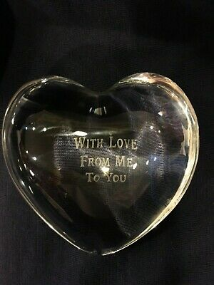 Signed Baccarat HEART Puffy Crystal Paperweight France With Love From Me To You