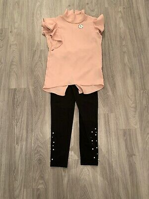 BNWT Girls River Island Outfit - Pink Top & Black Leggings - Age 10