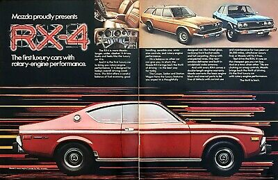 "1974 Mazda RX-4 Coupe photo ""Longer Wider Sleeker"" 2-page vintage print ad"