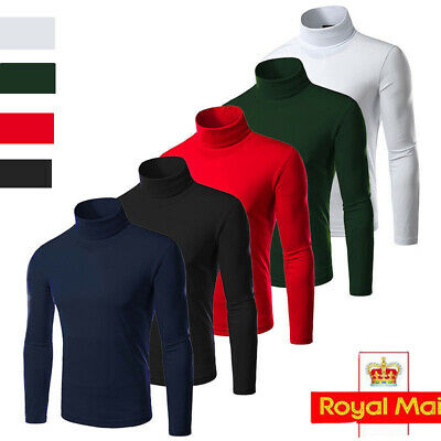 UK NEW Mens Roll Neck Long Sleeve Cotton Warm Top Neck Turtle Neck Sweater