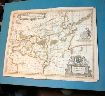 Old Antique Hand Colored Tinted Map Print Rough Shape Auctore Johann Surhonio