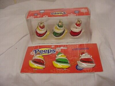 2 Different Packs Of 3 Peeps Christmas Ornaments Elf Chicks New Glass Easter
