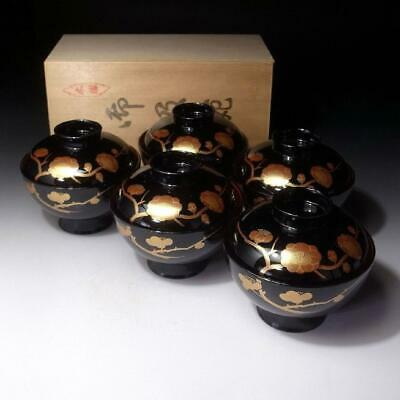ZG13: Vintage Japanese 5 Lacquered Covered Bowls, Aizu Lacquer ware, Plum Tree