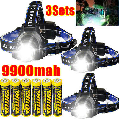 350000Lumen T6 LED 18650 Zoomable Headlamp USB Rechargeable Headlight Head Light