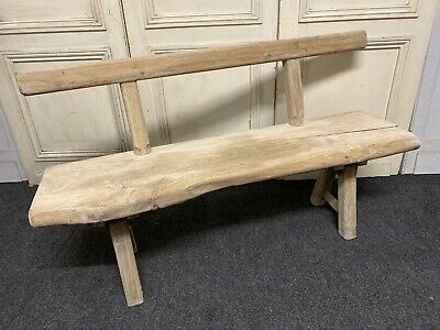 French Rustic Bleached Oak Bench, Kitchen, Stool, Dining, Circa 1890