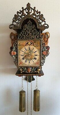 Warmink Wall Clock Stoelklok Dutch Vintage Chain Driven Moonphase Pendule Rare