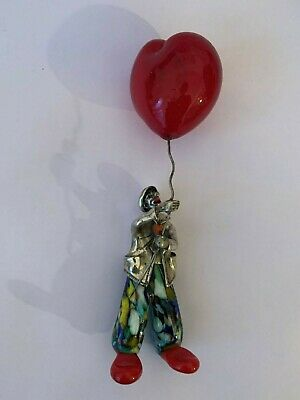 Vittorio Angini Italian Murano Glass  925 Sterling Silver Clown with a balloon