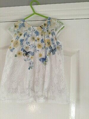 Girls White Butterfly Lace Effect Dress By M&Co Age 2-3 Years 98 Cms