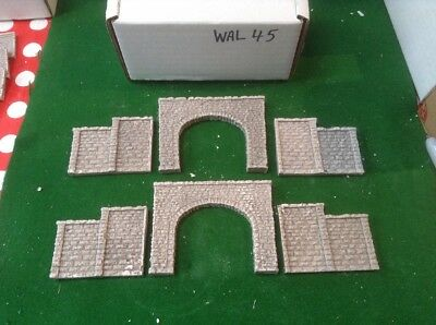 2x twin Track Tunnels & 4 Step Walls n scale gauge- rough stone style- Painted