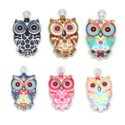 Owl Necklace Enamel 6pcs Making Mixed Charms Pendants Jewelry DIY Color Crafts
