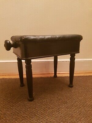 Vintage Antique Edwardian / Victorian Mechanical Adjustable Piano Stool