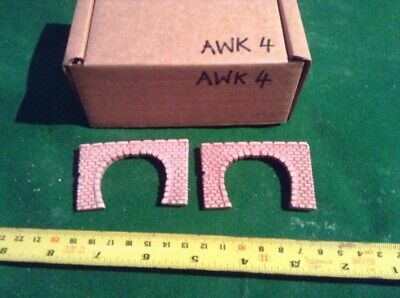 2 X Twin Track Z Scale Tunnel Portals, Painted ,Pre Coloured, Brick Style (AWK4)
