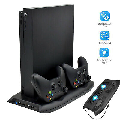 For Xbox One X Vertical Stand Cooling Fan Holder Dual Charging Station 4 USB Hub