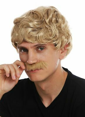 Wig Moustache Carnival Men's short Curly Wavy 70er Years Cowboy Blonde