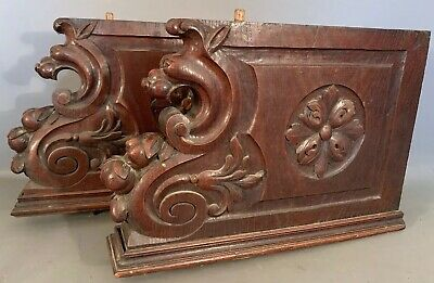 (2) 19thC Antique CARVED Wood DRAGON LION Old VICTORIAN Architectural FRAGMENT