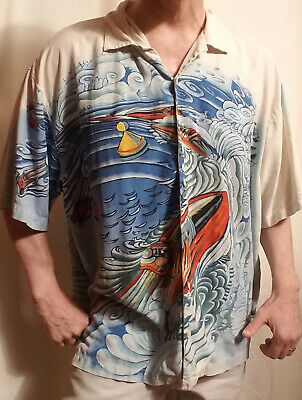 new TOMMY BAHAMA Mens size 2XL All Over MOTORBOAT Print 100% SILK HAWAIIAN Shirt