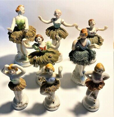 Lot of 8 Vintage Ballerina Figurines Porcelain Lace Tutus Japan & Occupied Japan