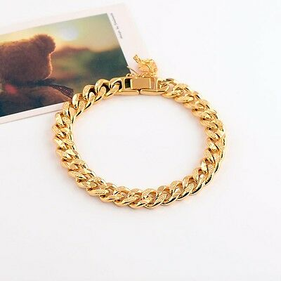 """Charms Bracelet for Men 18k Yellow Gold Filled 9""""Link Curb Chain Fashion Jewelry"""