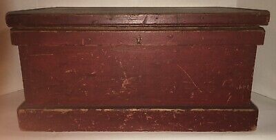 Classic Old Red Paint Dovetailed 19Th C American Folk Art Document Tool Box Aafa