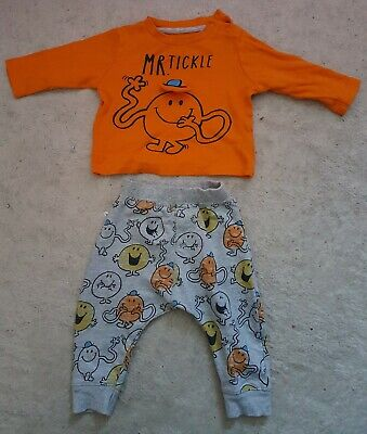 Baby Boys Long Sleeve Orange MR.TICKLE Top & Grey MR.MEN Trousers Outfit (3-6 m)