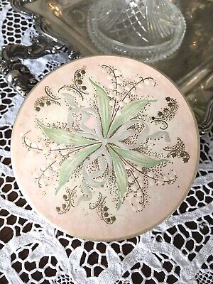 Vtg Pink MUGUET Des Bois COTY Empty POWDER BOX TIN Lily Of Valley Shabby Vanity