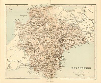 original 1868 colour map ! the county of devonshire