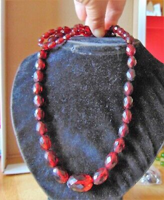 Antique Art Deco Cherry Amber Bakelite Good Length Graduated Bead Necklace