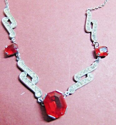Art Deco Red & Clear Paste Front Chrome Plate Necklace