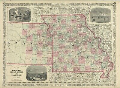 1864 Johnson's Missouri & Kansas