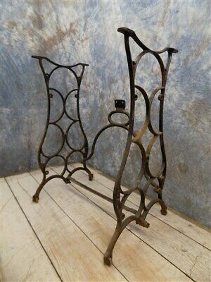 Treadle Sewing Machine Cast Iron Base Industrial Age Table Singer Steampunk nm