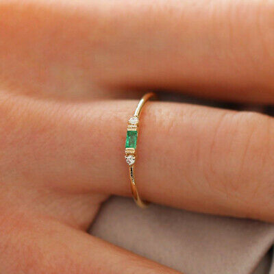 small fresh ladies engagement ring 14k gold 3 tiny diamond pieces of exquisite