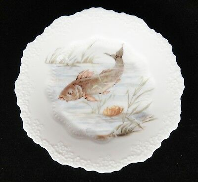 """Antique Ohme Silesia Plate Swimming Fish Scalloped Embossed Edge 7.75"""""""