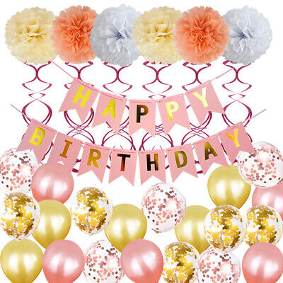 Rose Gold Metallic Foil Balloons Kit Spirals Happy Birthday Party Decor Pompoms