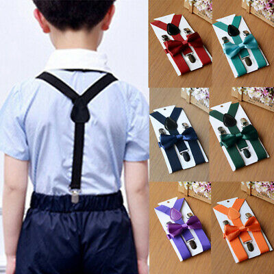US Adjustable Suspender and Bow Tie Set for Baby Toddler Kids Boys Girls Child #