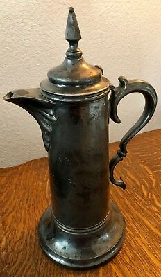 Antique SIMPSON HALL & MILLER  Silver Plate Dedication Large Tankard Pitcher