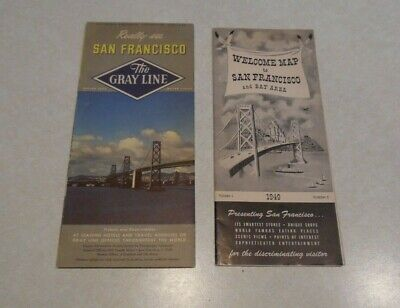 Two Vintage San Francisco Gray Line 1949 and 1950 Brochure Maps