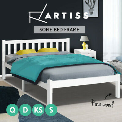 Artiss Wooden Bed Frame Single Double Full Queen King Size Bed Base Timber SOFIE
