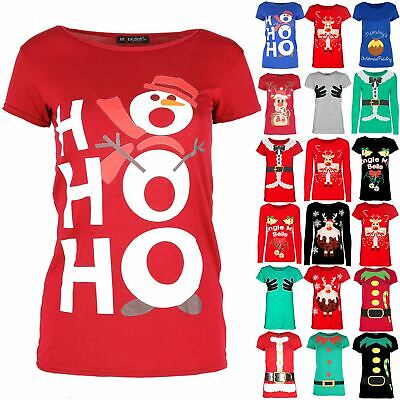 Womens Xmas Ladies Short Sleeve Snowman Hat Muffler Christmas Tee Shirt Mini Top