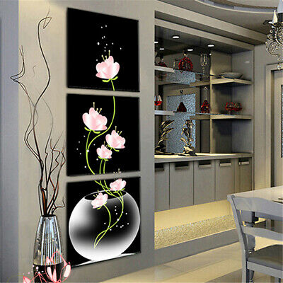 3pc Art Modern Flower Canvas Painting Picture Print Wall Hangings Home Decor UK