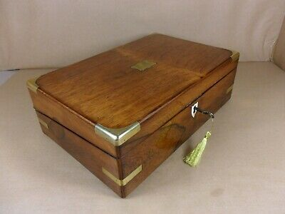 ANTIQUE VICTORIAN  BRASS BOUND ROSEWOOD WRITING SLOPE / BOX. C1860-1880 (Cd 534)