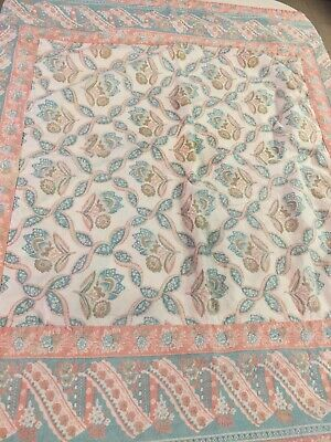"APRIL CORNELL SMALL TABLECLOTH Pastel Paisley Floral 34""x34"" COTTON BORDER"